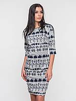 Приталенное серое женское платье с оригинальным принтом рукав 3/4 90130/1 42
