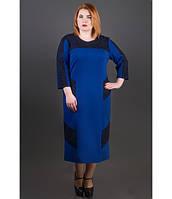 Женское платье свободного покроя Грация цвет электрик размер 54-60 / батальное