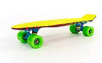 Скейтборд пластиковый Penny SK-4442-2 ZOO FISH 22in с рисунком и цветными болтами (желтый)