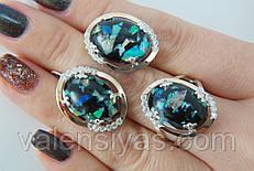 Комплект серебряных украшений с гелиотисом - кольцо и серьги