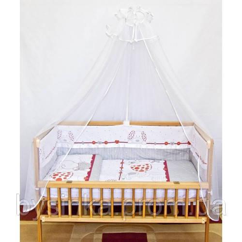 """Бортики и комплект постельки в детскую кроватку -""""Зоопарк""""."""