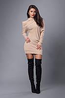 Женское молодежное платье-туника песочного цвета