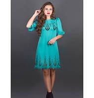 Женское молодежное платье с перфорацией Айсель цвет бирюза размер 44-52