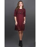 Женское молодежное платье с перфорацией Айсель цвет бордо размер 44-52