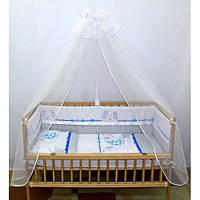 """Защита и набор постели в кроватку новорожденного -""""Зоопарк""""."""