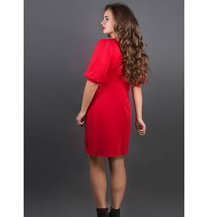 Женское молодежное платье с перфорацией Айсель цвет красный размер 44-52, фото 2