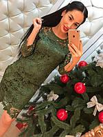 Женское кружевное платье с молнией на спине, зеленого цвета