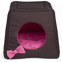 Дом-лежак Comfy Triplre House коричневый/розовый 43х43х39 см