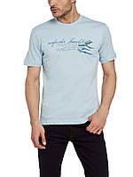 Мужская футболка LC Waikiki светло-голубого цвета с надписью, фото 1