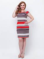 Легкое платье больших размеров из трикотажа с карманами 90161женское