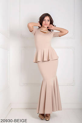 Вечірнє бежеве плаття-максі Ernel