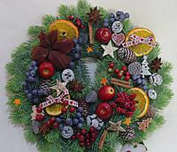 Венок новогодний из литой хвои 38 см