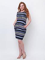 Легкое женское платье больших размеров из трикотажа с карманами 90161/2
