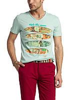 Мужская футболка LC Waikiki светло-зеленого цвета с надписью Ride the wave M