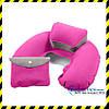 Дорожная надувная Подушка для путешествий с подголовником Silenta (pink) + чехол!