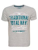 Мужская футболка LC Waikiki серого цвета с надписью Traditional Royal Navy