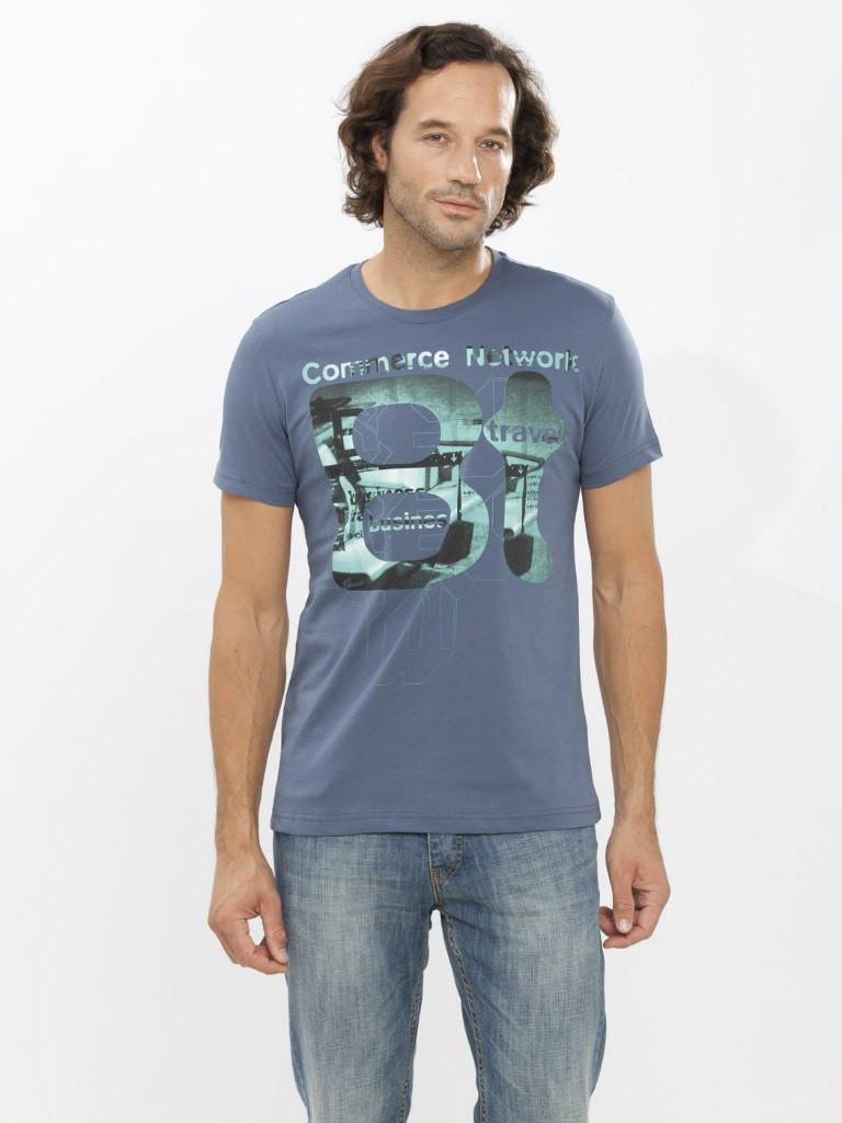 Чоловіча футболка LC Waikiki сірого кольору з написом