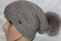 Вязаная шапочка на флисе с большим песцовым помпоном. Полушерсть. р.ры 54-58