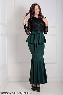 Жіноче темно-зелене вечірнє плаття Elegans