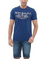 Мужская футболка LC Waikiki синего цвета с надписью North South