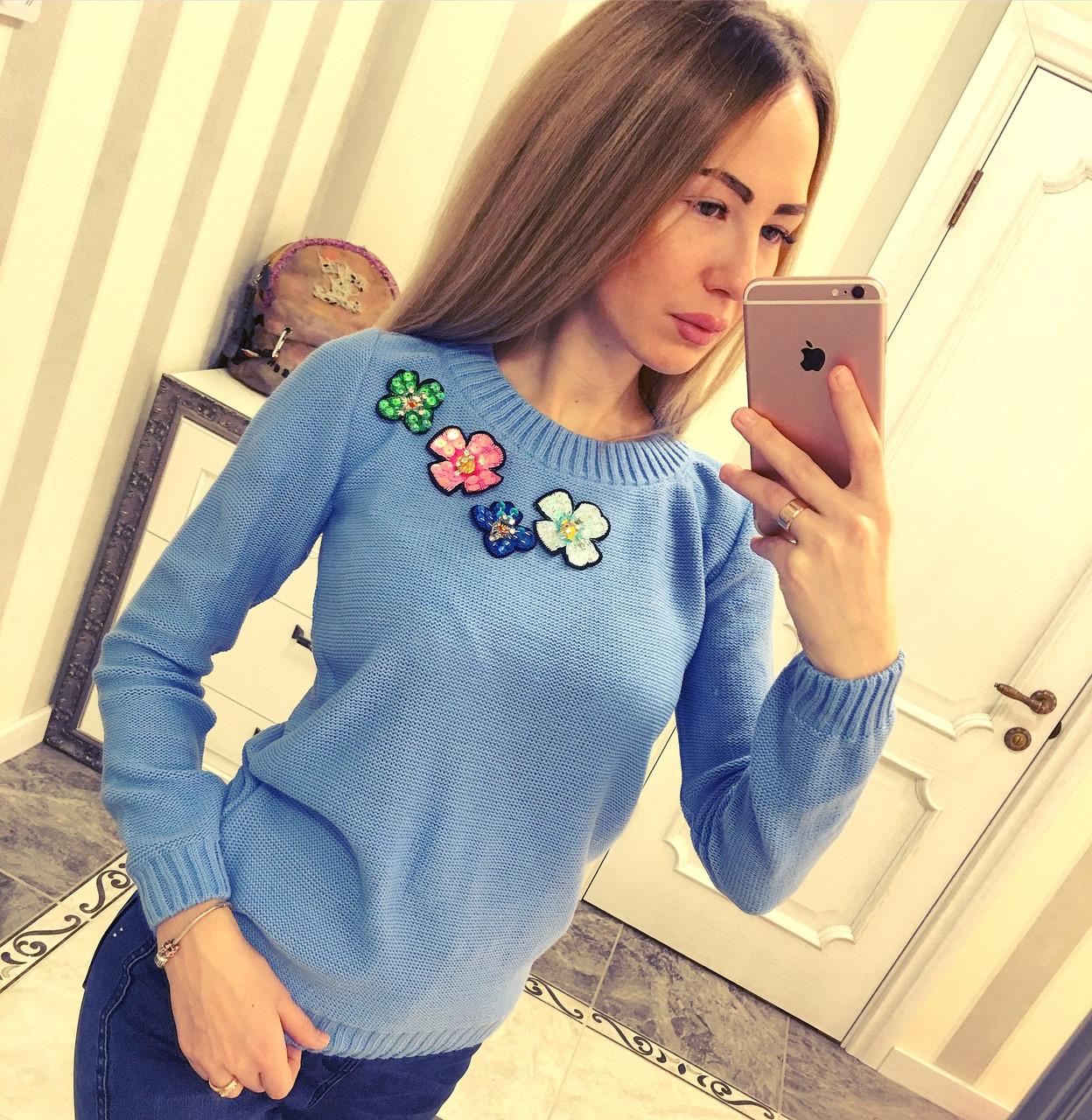 Модный женский свитер Цветы 2, фото 1