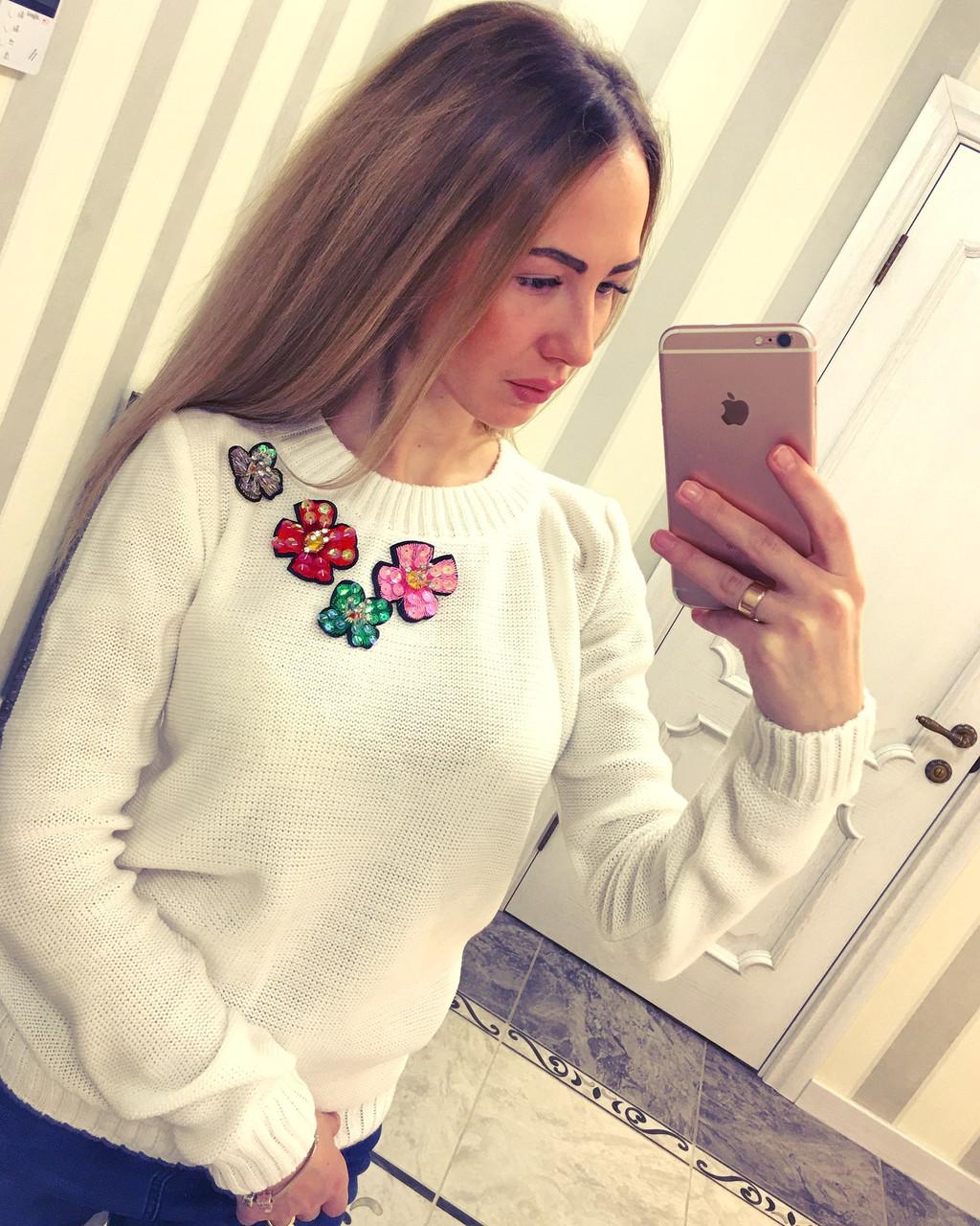 752ef109354 Модный женский свитер Цветы 2  продажа