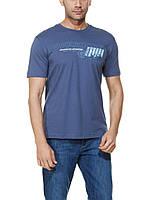 Мужская футболка LC Waikiki синего цвета с надписью OFF SHORE