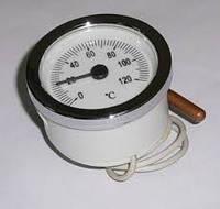 Термометр капиллярный круглый SVT 52 P 0-120°C  с выносным датчиком 1000мм белый/хром LT144
