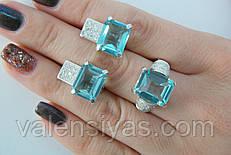 Комплект женских серебряных украшений с голубыми камнями