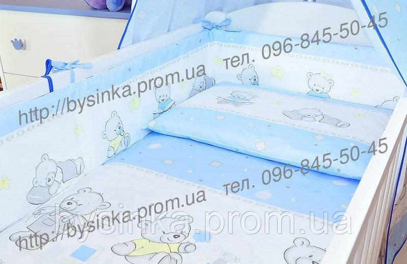 """Бортики и комплект постельки из 3х ед в детскую кроватку -№ 143 """"Мишки игрушки""""."""