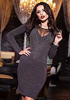 Ангоровое женское платье со стразами по колено. Состав: ангора, сетка, стразы. Размер 42-52.