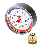 Термоманометр аксиальный Watts F+R818 (TIM 80 0-4Bar 0-120°C)