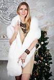 Палантин из белого песца с вышивкой бисером, фото 2