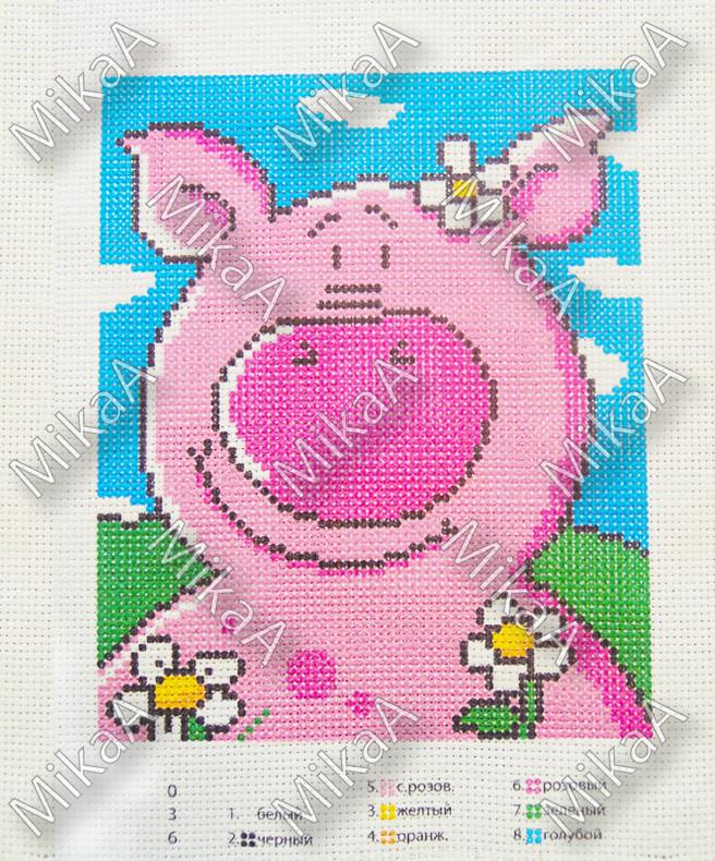 Схема нанесенная на канву для вышивки нитками - Свинка
