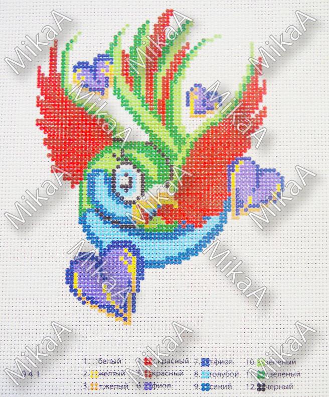 Схема нанесенная на канву для вышивки нитками - Птичка