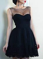 Черное вечернее мини платье с пышной юбкой на свадьбу,выпускной
