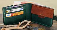 """Чоловічий шкіряний гаманець мужской кожаный кошелек """"Wallet"""" ручної роботи, натуральна шкіра, на кнопці"""