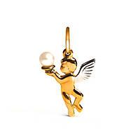 Золотой кулон с жемчугом Ангел