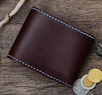 """Чоловічий шкіряний гаманець мужской кожаный кошелек """"BOZ"""" ручної роботи, натуральна шкіра, на кнопці, фото 1"""