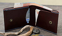 """Шкіряний гаманець """"BOZ"""" ручної роботи, натуральна шкіра, на кнопці+гравіювання, фото 1"""