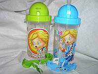 Бутылка для воды с силиконовой поилкой 500 мл.(3 цвета)