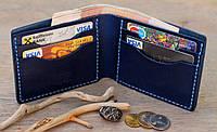 """Чоловічий шкіряний гаманець, мужской кожаный кошелек """"Sea"""" ручної роботи, натуральна шкіра"""