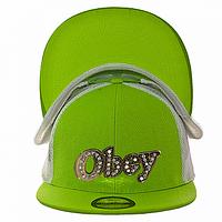 Бейсболка реперка салатовая Obey