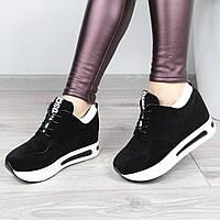 Кроссовки женские Love на шнурках черные , спортивная обувь