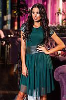 Элегантное женское платье с кожаными вставками под пояс. Состав: французский трикотаж. Размер 42-46
