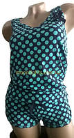 Пижама женская- майка- борцовка и шорты, Турция, в горошек