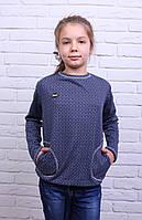 Подростковая кофточка для девочки Лидия синего цвета