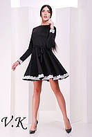 Платье с юбкой-солнце черное 11772