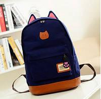 Стильный рюкзак котик с ушками. Синий