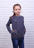 Подростковая кофточка для девочки Лидия-3 синего цвета